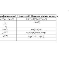 . Арифметикалық өрнектердiң Паскаль тілінде жазылуы 0,5(x+7)(x+2)(x - 3) 0.5