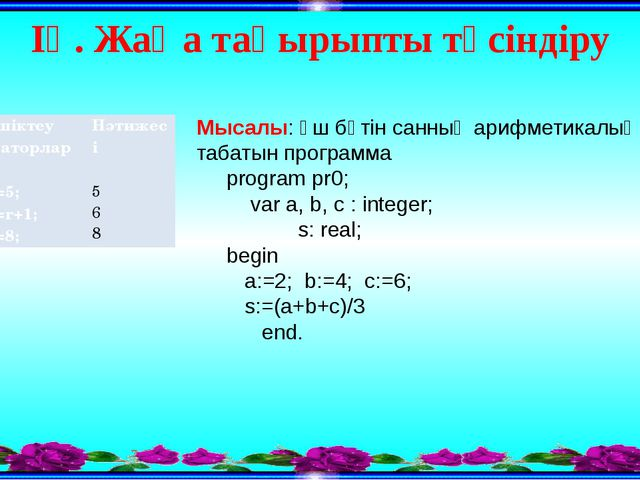 ІҮ. Жаңа тақырыпты түсіндіру Мысалы: үш бүтiн санның арифметикалық ортасын та...