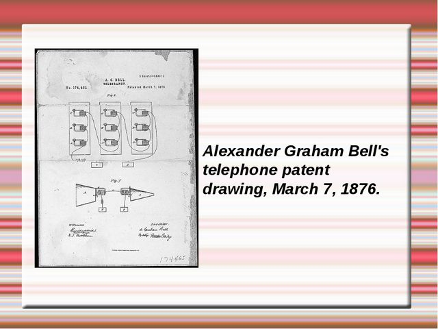 Alexander Graham Bell's telephone patent drawing, March 7, 1876.
