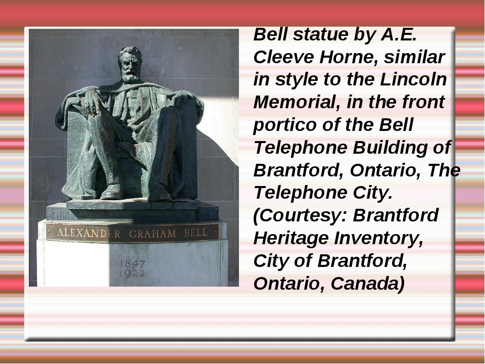 Bell statue by A.E. Cleeve Horne, similar in style to the Lincoln Memorial, i...