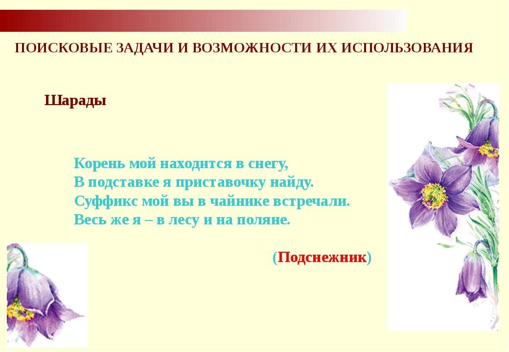 ПОИСКОВЫЕ ЗАДАЧИ И ВОЗМОЖНОСТИ ИХ ИСПОЛЬЗОВАНИЯ Шарады Корень мой находится...