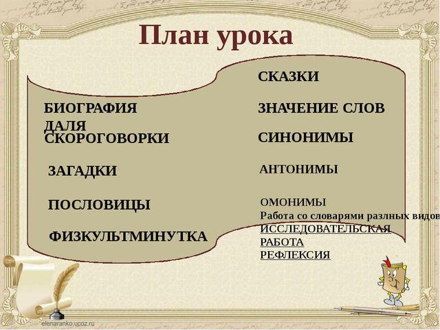 План урока БИОГРАФИЯ ДАЛЯ СКОРОГОВОРКИ ПОСЛОВИЦЫ ЗНАЧЕНИЕ СЛОВ СКАЗКИ ЗАГАДК...