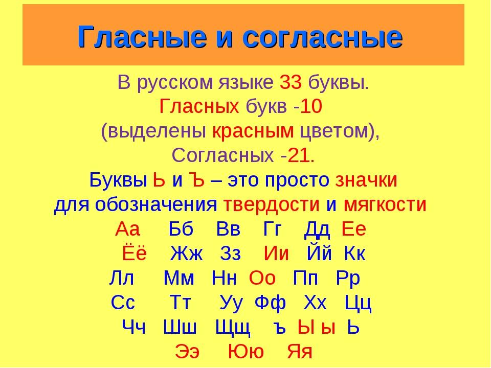 Гласные и согласные В русском языке 33 буквы. Гласных букв -10 (выделены кра...