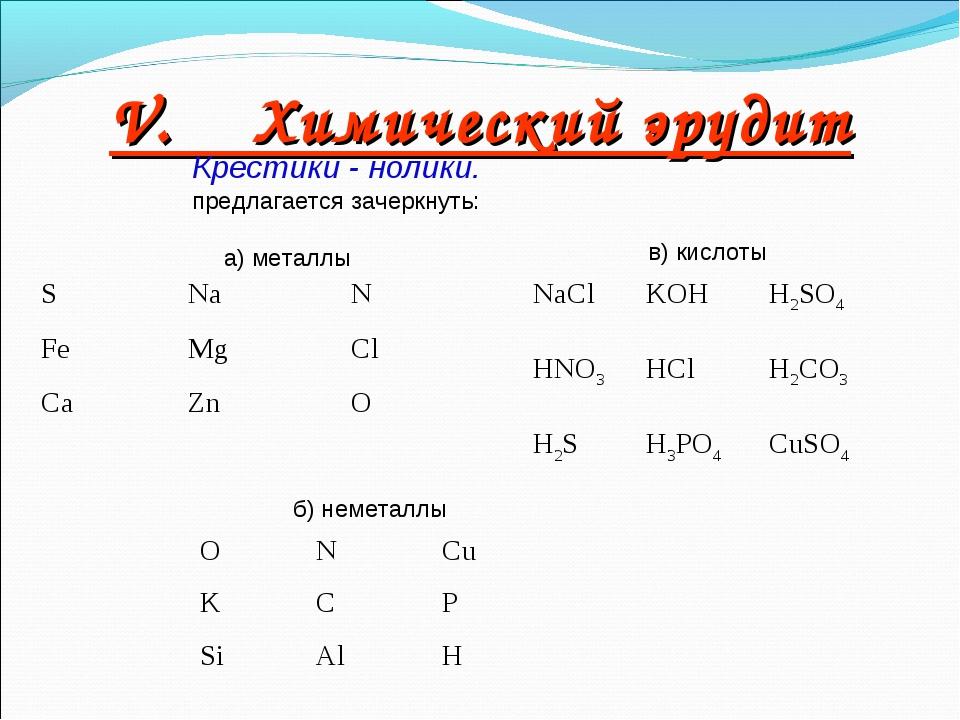 V. Химический эрудит Крестики - нолики. предлагается зачеркнуть: а) металлы б...