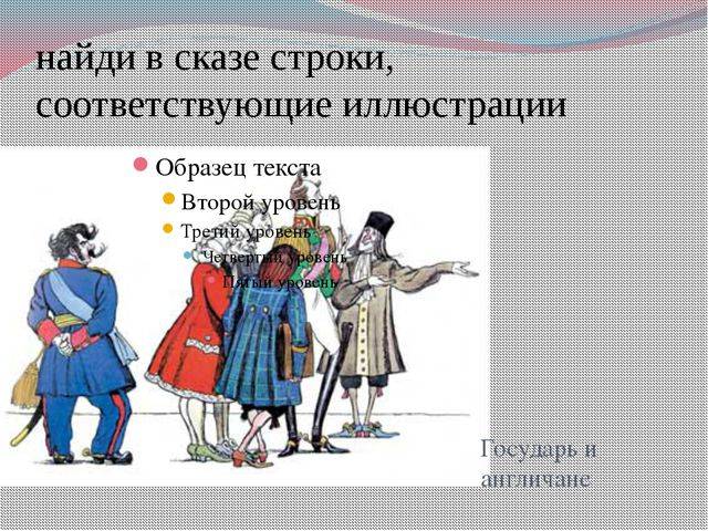 найди в сказе строки, соответствующие иллюстрации Государь и англичане