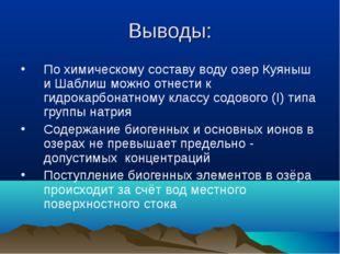 Выводы: По химическому составу воду озер Куяныш и Шаблиш можно отнести к гидр