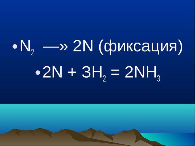 N2 —» 2N (фиксация) 2N + ЗH2 = 2NН3