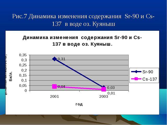 Рис.7 Динамика изменения содержания Sr-90 и Cs-137 в воде оз. Куяныш