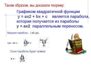 Осью параболы будет прямая х = - Вершина параболы - ( х0; уо) , где : хо = -