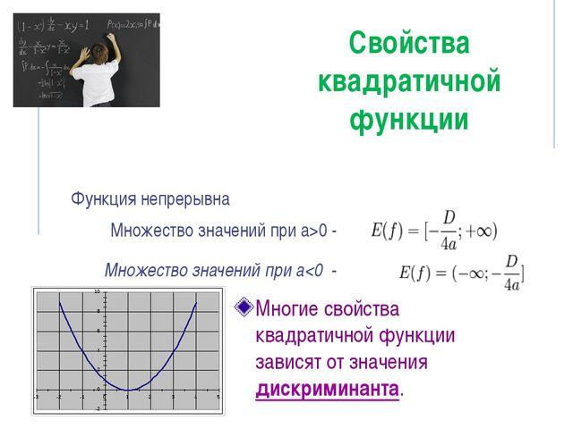 Свойства квадратичной функции Многие свойства квадратичной функции зависят от...