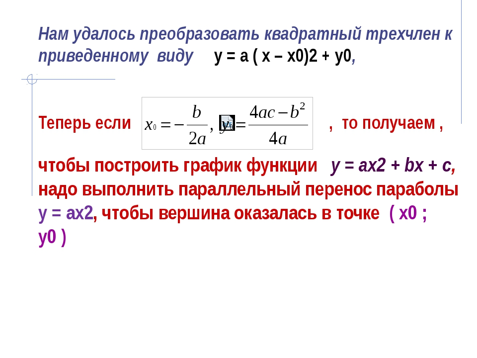 Нам удалось преобразовать квадратный трехчлен к приведенному виду у = а ( х –...