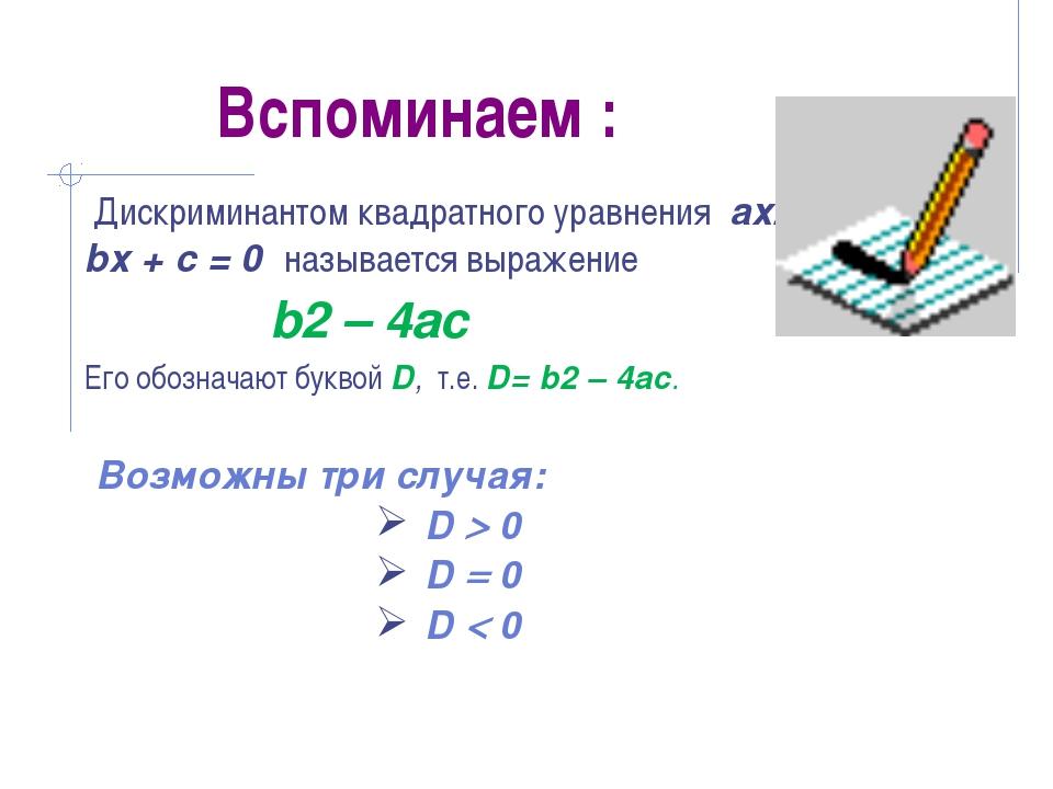 Вспоминаем : Дискриминантом квадратного уравнения ах2 + bх + с = 0 называется...