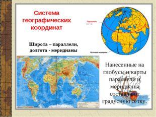 Широта – параллели, долгота - меридианы Система географических координат Нане