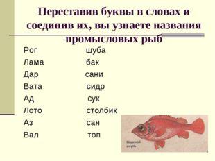 Переставив буквы в словах и соединив их, вы узнаете названия промысловых рыб