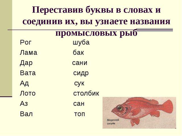 Переставив буквы в словах и соединив их, вы узнаете названия промысловых рыб...