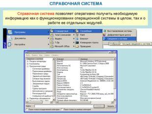 СПРАВОЧНАЯ СИСТЕМА Справочная система позволяет оперативно получить необходим