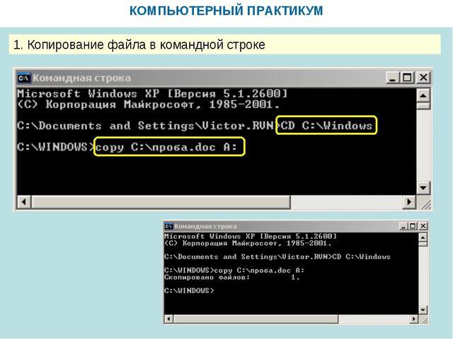 КОМПЬЮТЕРНЫЙ ПРАКТИКУМ 1. Копирование файла в командной строке