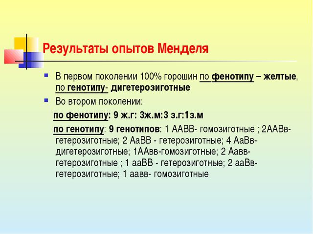 Результаты опытов Менделя В первом поколении 100% горошин по фенотипу – желты...