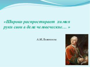 «Широко распростирает химия руки свои в дела человеческие… » А.М.Ломоносов