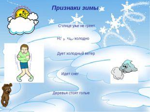 Признаки зимы Солнце уже не греет На улице холодно Дует холодный ветер Идет с