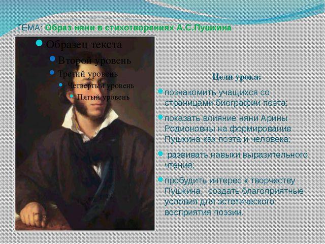 ТЕМА: Образ няни в стихотворениях А.С.Пушкина Цели урока: познакомить учащихс...