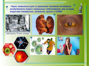 Через немытые руки в организм человека попадают возбудители таких страшных з