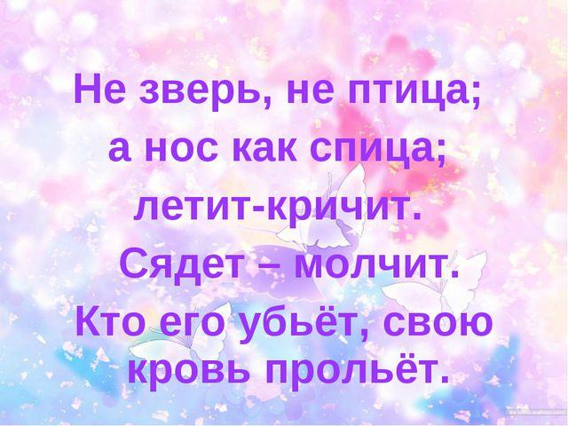 Не зверь, не птица; а нос как спица; летит-кричит. Сядет – молчит. Кто его уб...