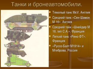 Танки и бронеавтомобили. Тяжелый танк МкV. Англия Средний танк «Сен-Шамон М 1