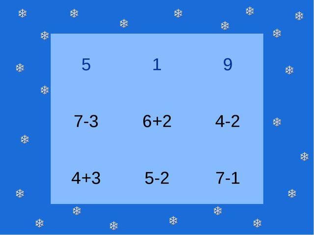 5 1 9 7-3 6+2 4-2 4+3 5-2 7-1