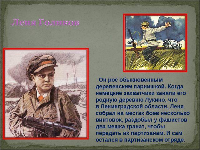 Онрос обыкновенным деревенским парнишкой. Когда немецкие захватчики заняли...