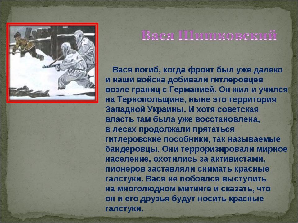 Вася погиб, когда фронт был уже далеко инаши войска добивали гитлеровцев во...