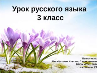 Урок русского языка 3 класс Выполнила: Насибуллина Ильсеяр Салихзяновна МБОУ