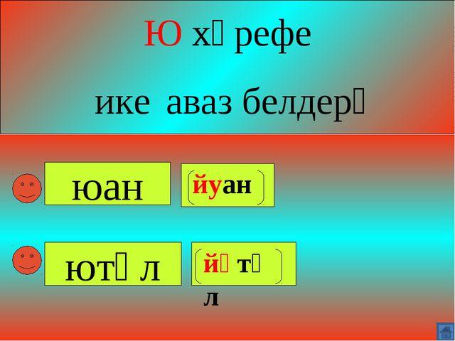 юан Ю хәрефе ике аваз белдерә ютәл йуан йүтәл