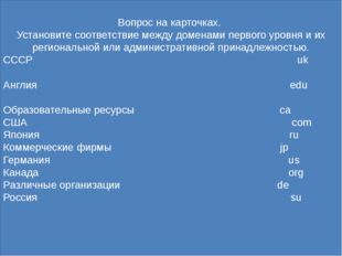 Ответ: CCCР su Англия uk Образовательные ресурсы edu США us Япония jp Коммер