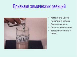 Изменение цвета Появление запаха Выделение газа Образование осадка Выделение