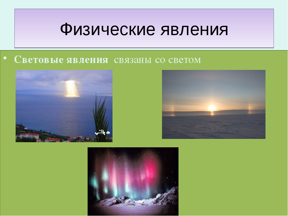 Физические явления Световые явления связаны со светом
