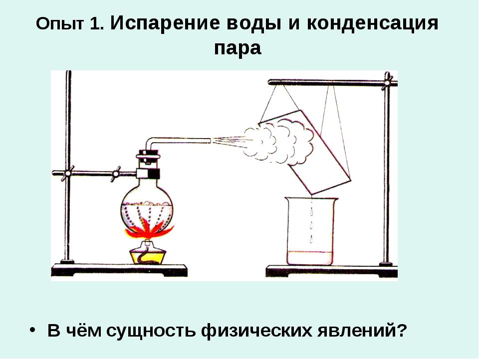 Опыт 1. Испарение воды и конденсация пара В чём сущность физических явлений?
