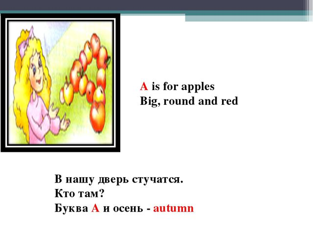 A is for apples Big, round and red В нашу дверь стучатся. Кто там? Буква A и...