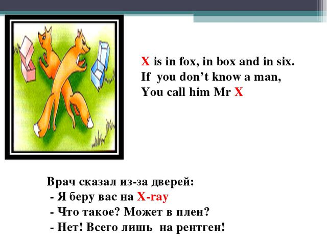 X is in fox, in box and in six. If you don't know a man, You call him Mr X Вр...
