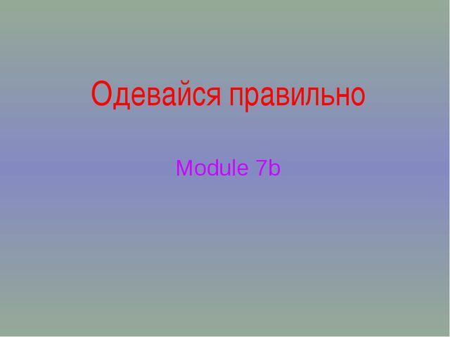 Одевайся правильно Module 7b