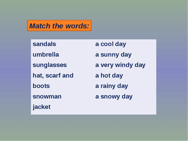 Match the words: sandals umbrella sunglasses hat, scarf and boots snowman jac...