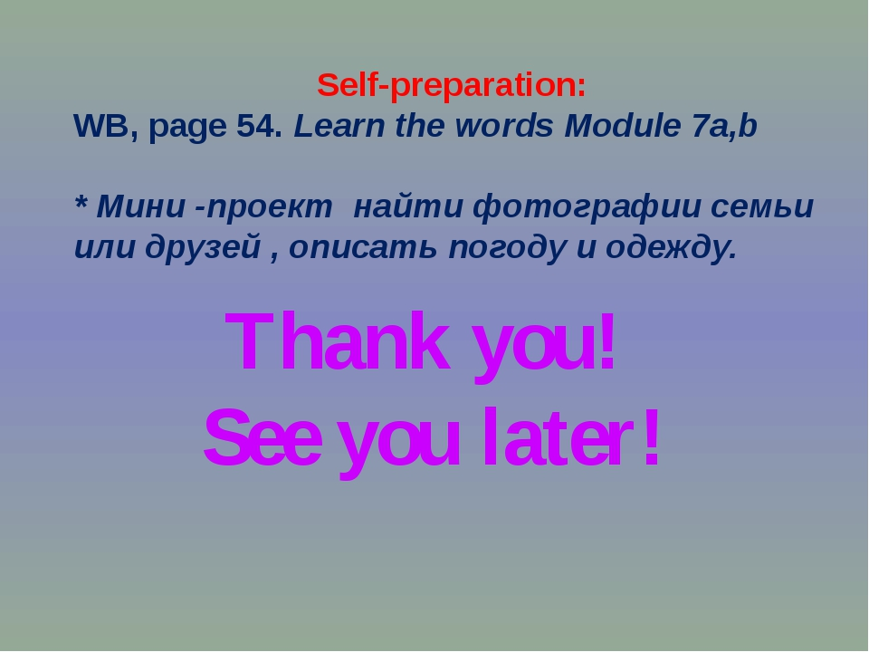 Thank you! See you later! Self-preparation: WB, page 54. Learn the words Modu...