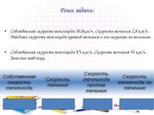 Реши задачи:  Собственная скорость теплохода 30,8км/ч. Скорость течения 2,8