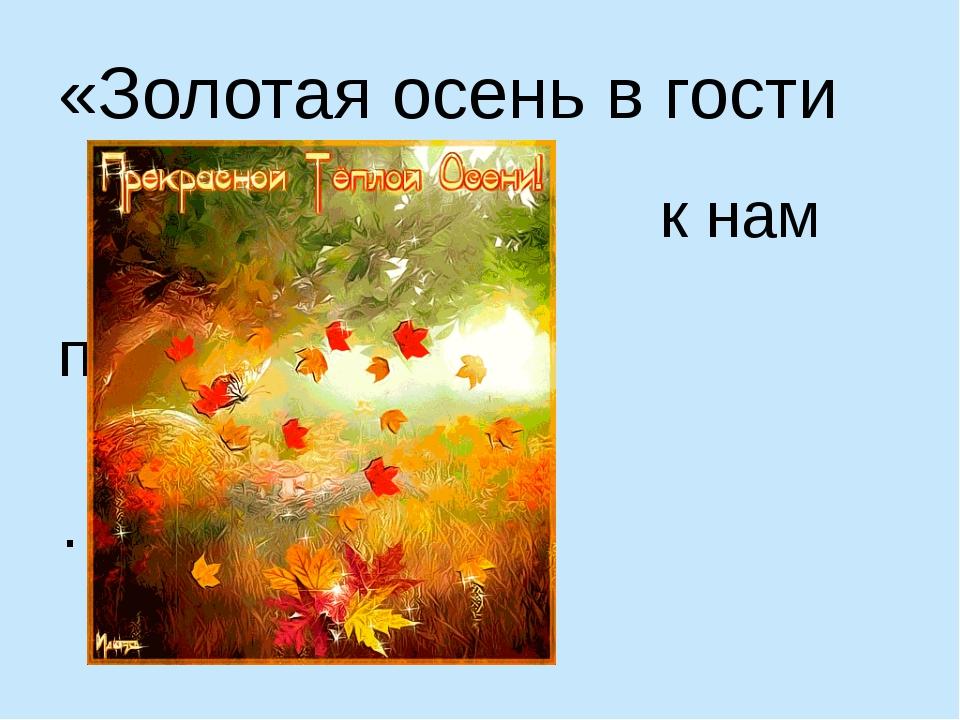 «Золотая осень в гости к нам пришла …»