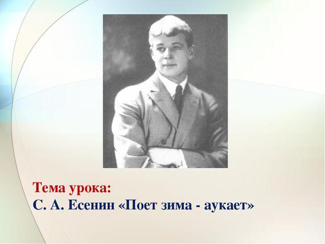 Тема урока: С. А. Есенин «Поет зима - аукает»