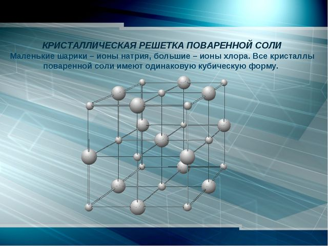КРИСТАЛЛИЧЕСКАЯ РЕШЕТКА ПОВАРЕННОЙ СОЛИ Маленькие шарики – ионы натрия, бол...