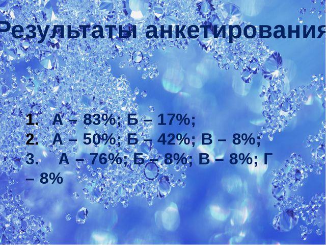 Результаты анкетирования А – 83%; Б – 17%; А – 50%; Б – 42%; В – 8%; 3. А – 7...
