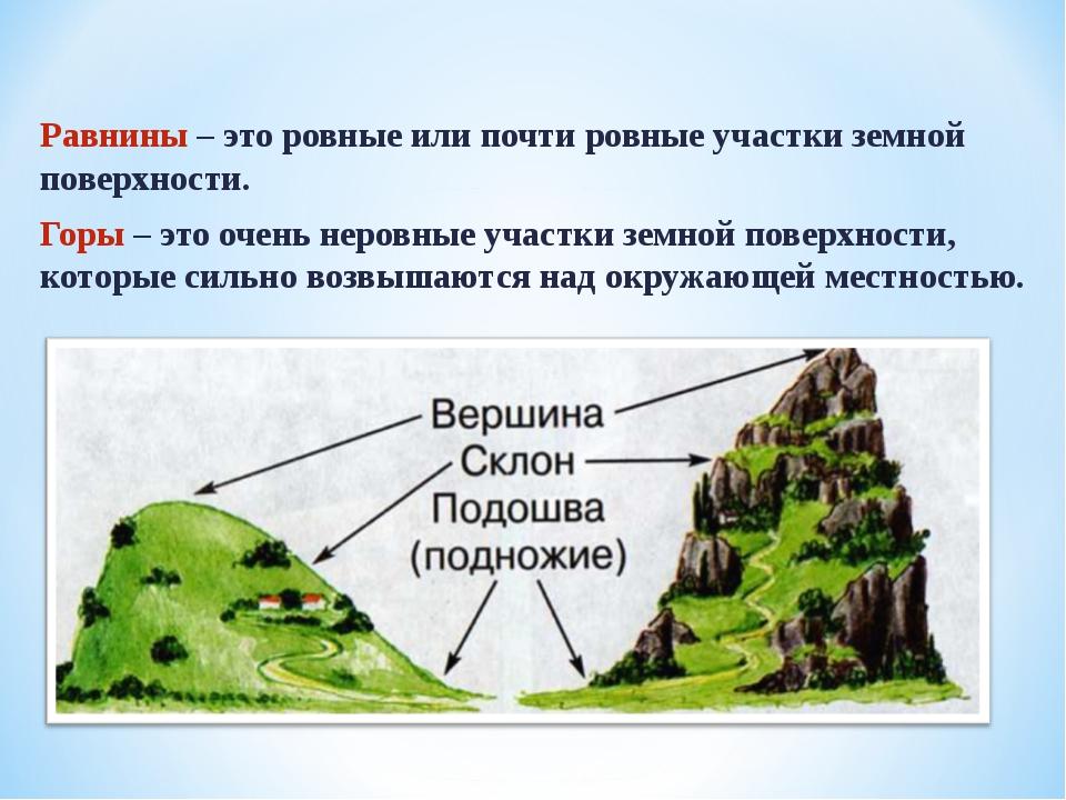 Равнины – это ровные или почти ровные участки земной поверхности. Горы – это...