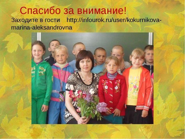 Спасибо за внимание! Заходите в гости http://infourok.ru/user/kokurnikova-ma...