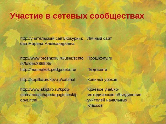 Участие в сетевых сообществах http://учительский.сайт/Кокурникова-Марина-Алек...